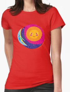 Sun Moon Womens Fitted T-Shirt