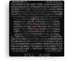 Still Alive Lyrics Companion Cube Canvas Print