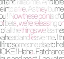 Still Alive Lyrics Companion Cube Sticker