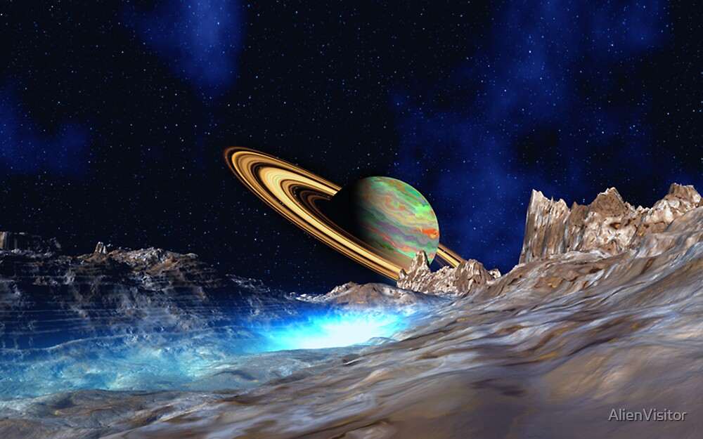 Saturn View - from Titan by AlienVisitor