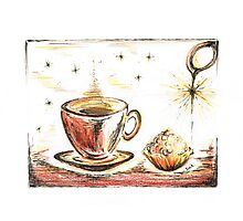 Golden Sweet Truffle with coffee Photographic Print