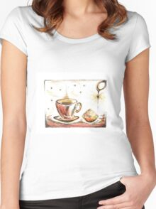 Golden Sweet Truffle with coffee Women's Fitted Scoop T-Shirt