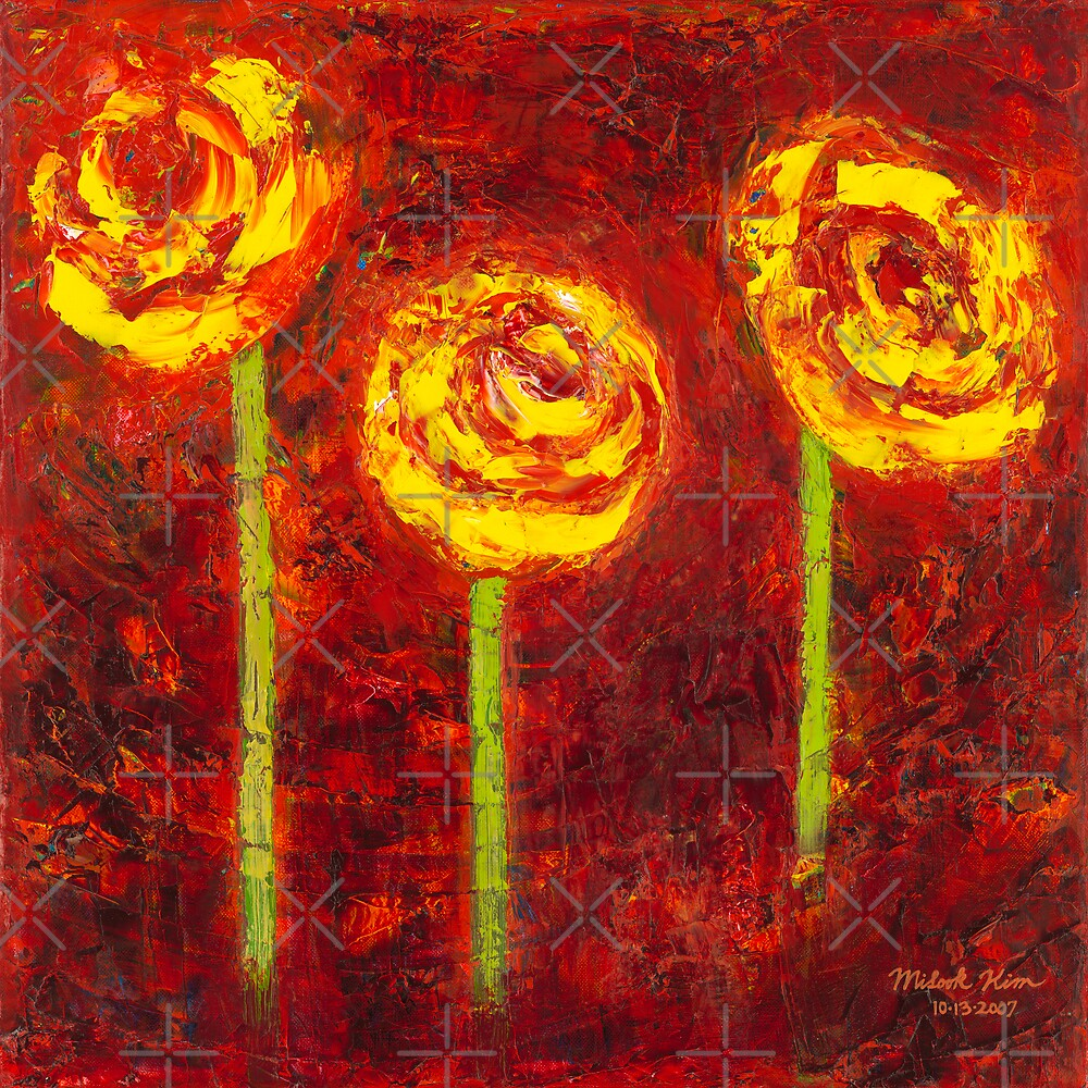 """""""Three Yellow Roses"""" Oil on Canvas by MiSook Kim by misook"""
