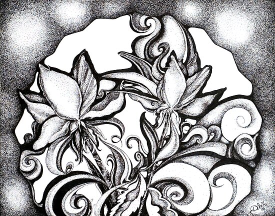 Abstract Flowers, Pointillism by Danielle Scott
