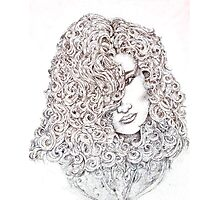 Pointillism drawing of lady Photographic Print