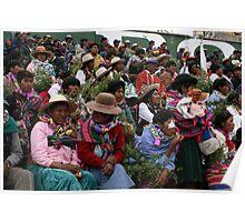 Women anxiously await Bolivian President Poster