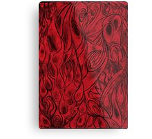 Unique Abstract Flowing Gray Black & Red Drawing Digitized Vertical Metal Print