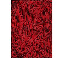 Unique Abstract Flowing Gray Black & Red Drawing Digitized Vertical Photographic Print