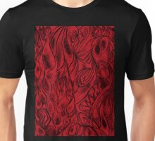 Unique Abstract Flowing Gray Black & Red Drawing Digitized Vertical Unisex T-Shirt
