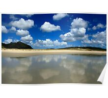 Reflected Clouds at Spirits Bay, New Zealand Poster