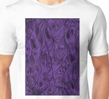 Unique Abstract Flowing Gray Black & Purple Drawing Digitized Vertical Unisex T-Shirt