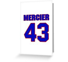 National Hockey player Justin Mercier jersey 43 Greeting Card