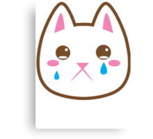 Super cute Chibi Kawaii kitten SAD :( Canvas Print