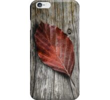 Autumn Leaf On Wooden Background iPhone Case/Skin