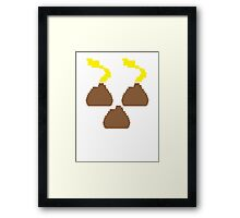 Digital poos crap turds three with smelly stink clouds! Framed Print