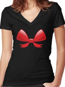 Cute little red BOW Women's Fitted V-Neck T-Shirt