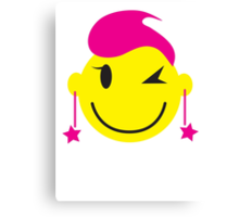 Hot pink smiley! girl winking Canvas Print