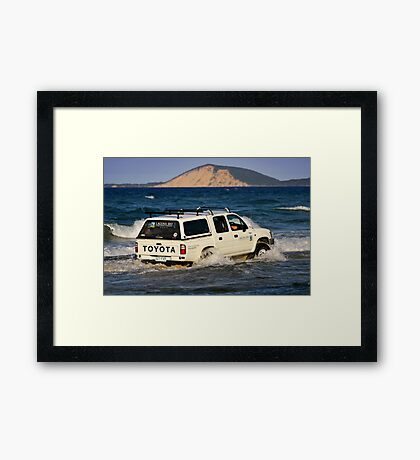 Driving around Mudlo Rocks at Rainbow Beach Framed Print