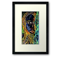 Woodcut Girl Print Framed Print