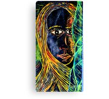 Woodcut Girl Print Canvas Print
