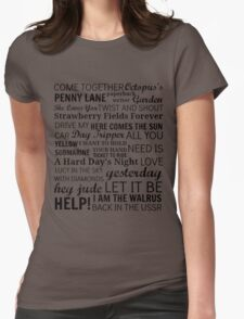 The Beatles Songs Womens Fitted T-Shirt