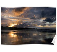 Ahipara at Sunset, Ninety Mile beach, New Zealand Poster
