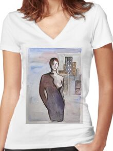 COSMO LADY Women's Fitted V-Neck T-Shirt