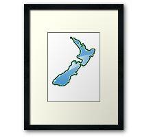 NEW ZEALAND trendy map island Framed Print