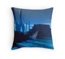 city by the sea 2200 AD Throw Pillow