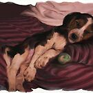 Lazy Little Baby Beagle Snoozing by SaraDiane