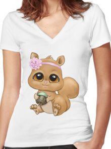 Baby Squirrel Women's Fitted V-Neck T-Shirt