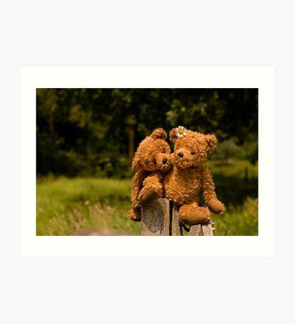 Bear couple in love Art Print