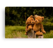 Bear couple in love Canvas Print