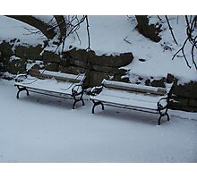 Benches in Winter Photographic Print