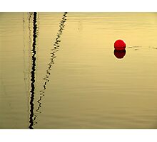 red buoy in sunset Photographic Print