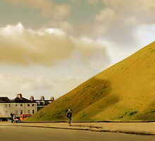Mother with pram photographing hill in York, UK by Paul Vanzella