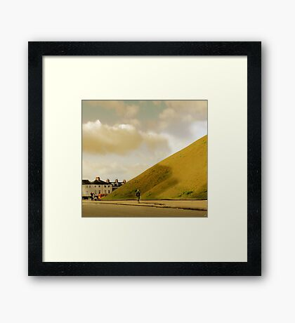 Mother with pram photographing hill in York, UK Framed Print
