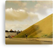Mother with pram photographing hill in York, UK Metal Print