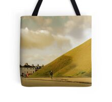Mother with pram photographing hill in York, UK Tote Bag