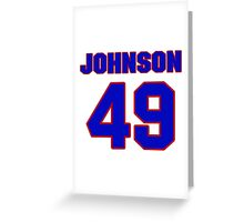 National Hockey player Justin Johnson jersey 49 Greeting Card