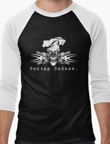 Baker Skull and Crossed Rolling Pins: Baking Badass 1 Men's Baseball ¾ T-Shirt