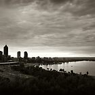 Perth city after sunrise in duotone by Martin Pot