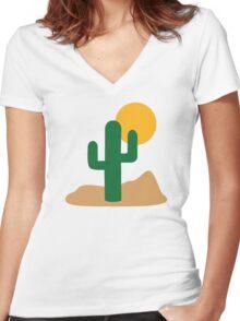 Cactus desert Women's Fitted V-Neck T-Shirt