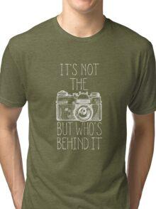 Camera white ink Tri-blend T-Shirt