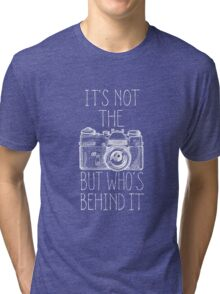 Camera white ink Tri-blend T-Shirt