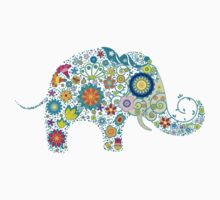 Retro Colorful Floral Elephant by artonwear