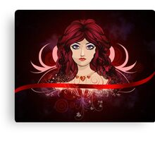 Red haired girl with floral Canvas Print