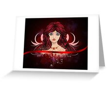 Red haired girl with floral Greeting Card