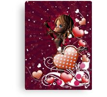 Pink hearts with floral and cupid 2 Canvas Print