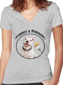 Pitbulls & Pierogies Women's Fitted V-Neck T-Shirt